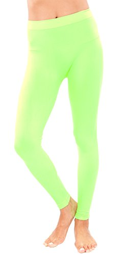 Ladies Neon Green Seamless Leggings Full Length