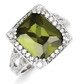 Genuine IceCarats Designer Jewelry Gift Sterling Silver Green & Clear Cz Ring Size 6.00