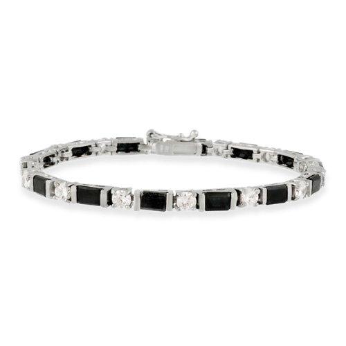 Sterling Silver Genuine Sapphire & CZ Tennis Bracelet