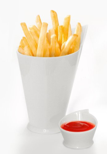 Maxwell Williams French Fries Cup And Sauce Dish In White Ceramic P9003