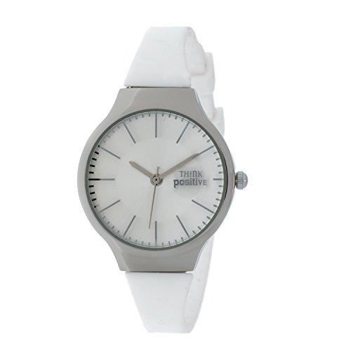 senoras-think-positiver-modelo-se-w31-classic-acero-de-la-correa-de-silicona-de-color-blanco