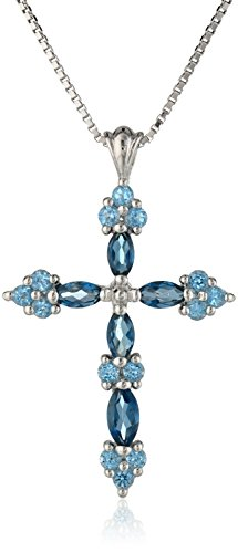 "Sterling Silver Blue Topaz Cross Pendant Necklace, 18"" by Amazon Curated Collection"