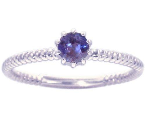 14K White Gold Petite Round Gemstone Solitaire Stackable Ring-Iolite, size5.5