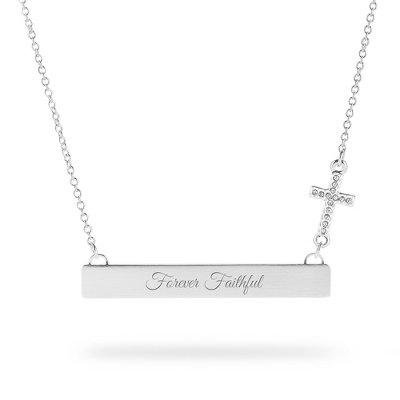 Personalized Engraved Bar Necklace With Cross Charm front-1061204