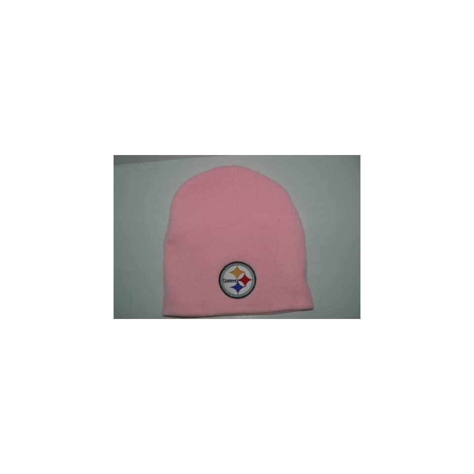 NFL Pittsburgh Steelers Womens Pink Cuffless Knit Beanie Hat Ski Skull Cap Lid Toque