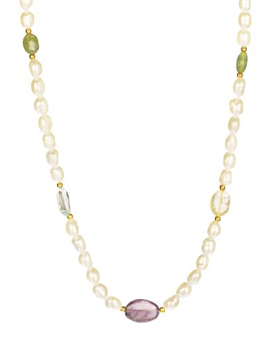 White Freshwater Cultured Baroque Pearls and Mixed Oval Gemstones Endless Necklace, 38
