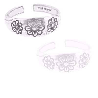 925 Sterling Silver Jewelry, Charming Toe Ring with Blooming Flowers, Adjustable Fit, Plus Free Special Gift Pouch