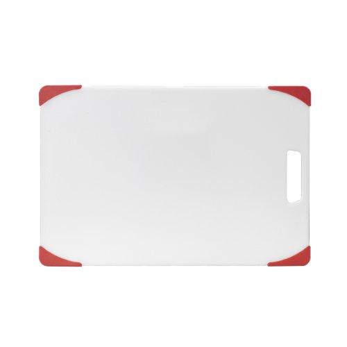 Farberware Non-Slip Poly Cutting Board, 12-Inch-by-18-Inch, White/Red (Farberware Poly Cutting Board compare prices)