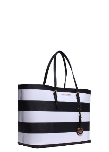 MICHAEL Michael Kors Jet Set Travel Striped MediumTote Black/ White