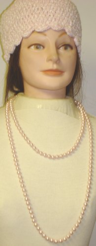 One Strand Light Pink Simulated Pearl Very Long Chain Necklace Shown As Two Strand Offered with Hand Crocheted Pink Chenille and Gimp Tweed Skull Cap