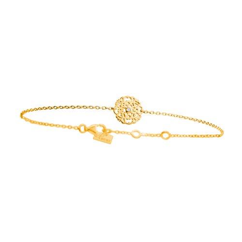 Parure Yellow Vermeil Lace Bracelet And White Diamond - Parure Paris