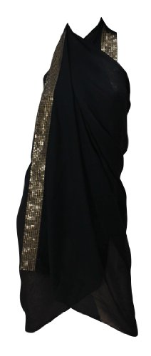 La Leela Sheer Black Designer Sequin Embroidered Chiffon Beach Swim Hawaiian Sarong Pareo