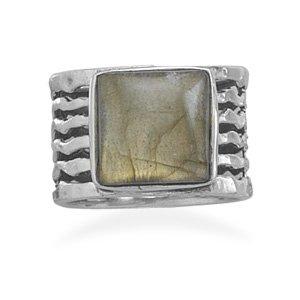 Sterling Silver Square Labradorite Ring / Size 9