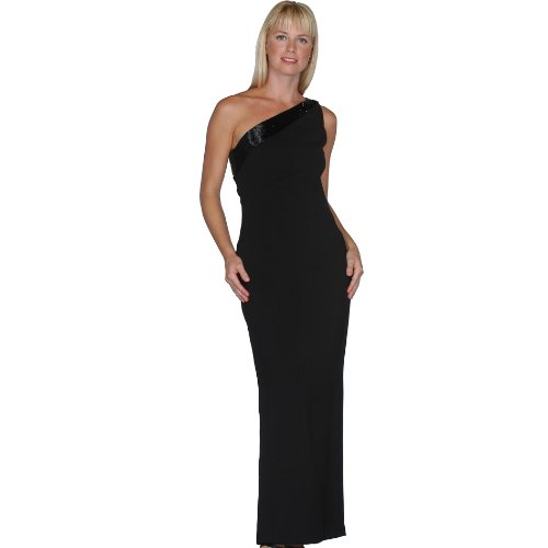 Formal Evening Gown. One Shoulder Dress. Prom Dress, Party Dress. Beaded Dress. Womens Long Evening Gown by Sean Collection (10107), XS, Black