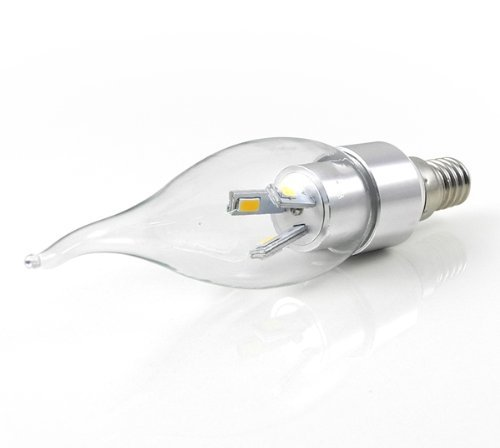 CHINS® E14 3W LED Kerze wie Lampe Birne LED Leuchtmittel mit Aluminium-Karosserie (270Lumen, 360º Abstrahlwinkel, AC 85V - 265V - Ø35×136mm) Energiespar Licht - Silber (Kaltweiß)
