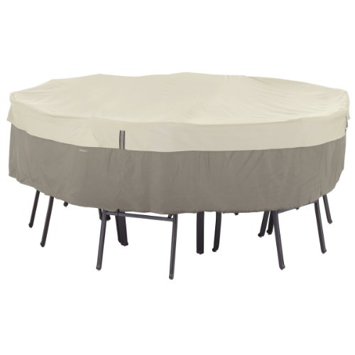Classic Accessories 55-253-011001-00 Belltown Round Patio Table And Patio Chair Set Cover, Large, Grey