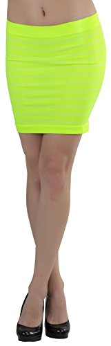 ToBeInStyle Women's Slim-Fit Seamless Striped Skirt - Neon