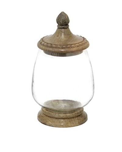 Three Hands Glass Jar with Wood Base
