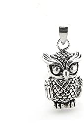 Large Sterling Silver Moveable 3D Owl Charm Pendant