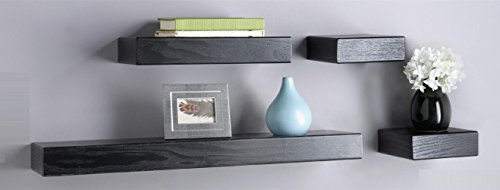 O&K Furniture Multilength Floating Ledge Shelves(Black Oak, 22