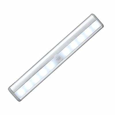 Dsycar 10 LED Night Light Battery Powered PIR Motion Sensor Light Bar with Stick-on Magnetic Strip for Closet Cabinet Wardrobe Stair