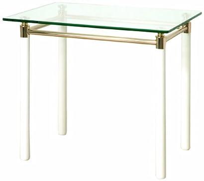 H 42 cm Optique INOX//Blanc /Ø 45 cm Haku Moebel Table dappoint