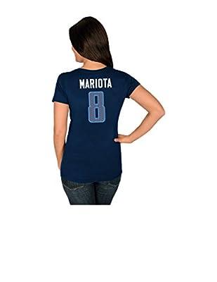 NFL Tennessee Titans Marcus Mariota 8 Women's Her Highlight Player Program Short Sleeve Deep Crew Neck Tee
