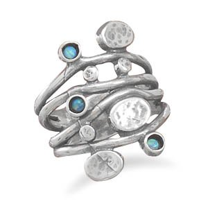 Sterling Silver Oxidized 4 Row Band Ring with 3 Synthetic Opal Stones / Size 9
