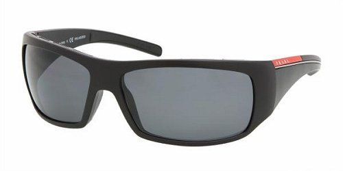 Prada Linea Rossa 01l Demi Matte Black Frame/Grey Polarized Lens Plastic Sunglasses