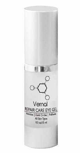Vernal Repair Care Eye Gel - Removes Dark Circles Under Eyes, Puffy Eyes, Fine Lines, Crows Feet, Wrinkles, Puffiness | Best Anti Aging Eye Cream Treatment to Address and Correct Any Eye Area Signs of Aging | Proprietary Blend of Triple Peptides Complex, Hyaluronic Acid, Aloe Vera Moisture Complex, Vitamin C & Retinol 0.5oz/15ml