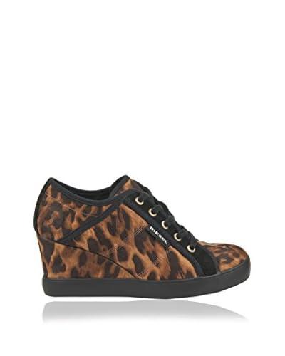 DIESEL Zapatillas Cuña Print Animal Leopardo / Negro