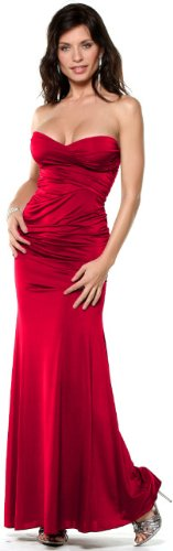 STRAPLESS LONG DESIGNER EVENING GOWN SEXY MAXI DRESS NEW WITH TAG ! (Small, Red)