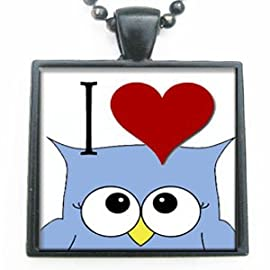 I Love Heart an Owl Glass Black Tile Pendant Necklace with Black Chain