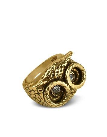 Alcozer & J Ring mit Eule und Brasssteinen gold
