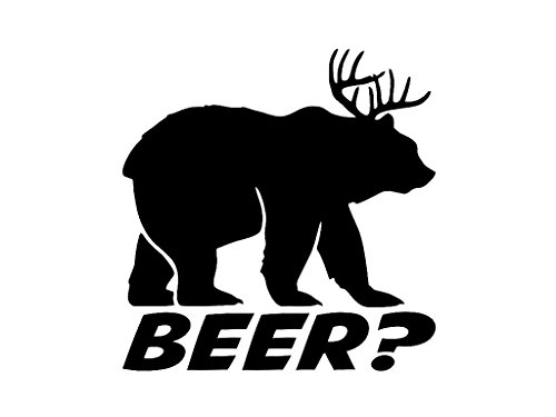 KCD269 Bear plus Deer equals BEER Vinyl Die Cut Decal Sticker | Cooler Fridge Cars Trucks Vans Walls Toolbox Laptop | Black | 5.5 In Decal | KCD269 (Beer Cooler Sticker compare prices)