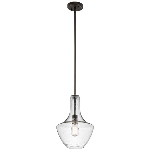 Kichler Lighting 42141Ozcs Everly 1Lt Pendant, Olde Bronze Finish With Clear Seedy Glass