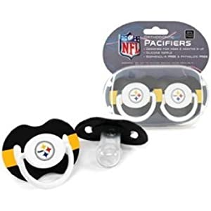 Pittsburgh Steelers Football NFL-licensed 2-pack Infant Pacifier Set by Baby Fanatic