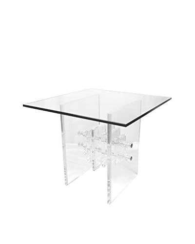 Uptown Down Vintage Sculptural Glass Accent Table, Clear