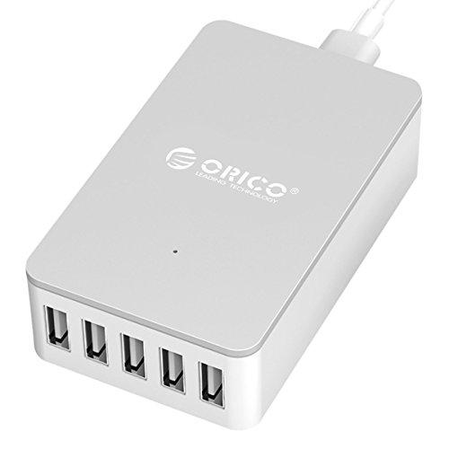 【日本直営店】ORICO 40W 5ポート usb コンセント USB急速充電器 スマート充電器 ACアダプタ 【スーパーチャージャー&同期整流搭載】ホワイト CSE-5U