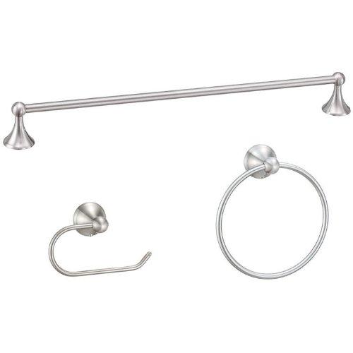 Designers Impressions Newport Series 3 Piece Satin Nickel Bathroom Hardware Set Accessories