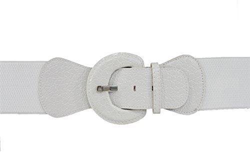 TFJ Women Fashion Belt Hip Elastic High Waist Stretch Band Plus M L Xl Real White