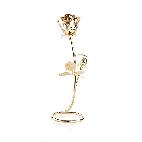 Beautifully Crafted Rose Table Top Ornament Dipped In 24K Gold Plating Made with Genuine Matashi Crystals