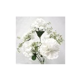4 Faux Carnations WHITE Silk Flowers Wedding Bouquets NEW!!