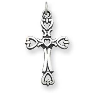 PriceRock Sterling Silver Antiqued Heart Cross Charm