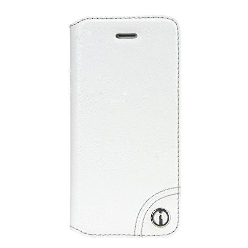 Imobo Flip Tasche Classic Kollektion Serie für Apple iPhone 5 5S S 16GB 32GB 64GB Ultra Slim Flip Schutzhülle Flipcase im Bookstyle Side Flip Book Case Handytasche Schutz Hülle Ledertasche Steckfach für Kredit- oder Visitenkarten Card Holder in Farbe Weiß Color White