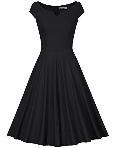 MUXXN Women's 50s Vintage Elegant Boat Neck Bridesmaid Swing Dress(M,Black)