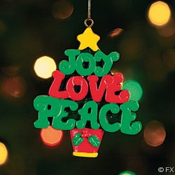 #!Cheap Set of 3 JOY, LOVE PEACE Christmas Tree ORNAMENTS/Holiday DECOR/DECORATIONS