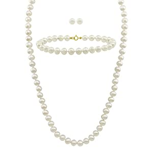 White Freshwater Cultured Pearl Necklace, Bracelet and Stud Earrings Set with 14k Yellow Gold (6-6.5mm)