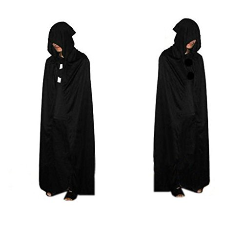 "Halloween Costume Full Length Black Hooded Cape 67""(170cm) Unisex Adults"