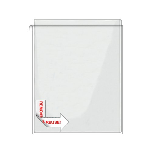 Storesmart® Remove & Reuse Peel & Stick Plastic Pocket - 100 Peel & Stick Letter-Size Pockets - Open Long Side - Vinyl Plastic (Psr582L-100) front-632484